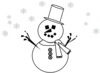 Snowman And Snow - Outline Clip Art