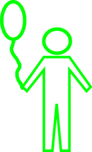Green Child Outline With Balloon Clip Art