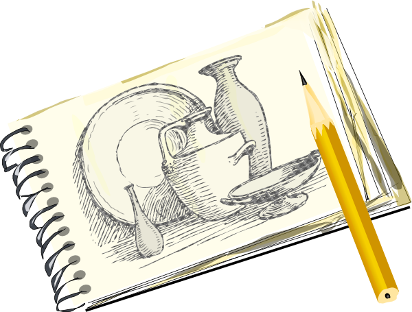 Sketchpad With Still Life Unfilled Clip Art At Clker.com - Vector Clip Art Online Royalty Free ...