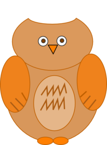 Owl With Outline Clip Art