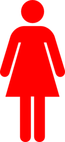 Ladies Bathroom Symbol Bright Red Clip Art