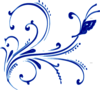 Blue Buttterfly Flourish Clip Art