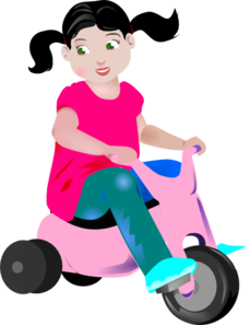 Girl Riding A Pink Tricycle Clip Art