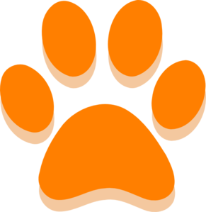 Orange Paw  Clip Art