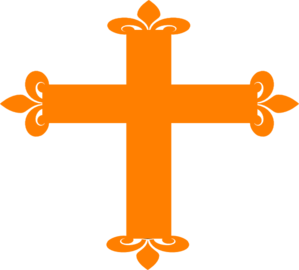 Fleur De Lis Cross - Orange Hi Clip Art