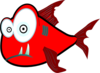 Red Crazy Piranha Very Large Clip Art