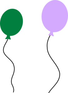 Green Purple Balloon Pair Clip Art