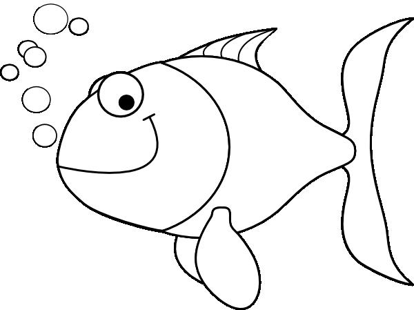 Fish outline clip art at vector clip art for Pesciolini da colorare per bambini