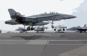 An F/a-18  Hornet  Assigned To The  Rough Raiders  Of Strike Fighter Squadron One Two Five (vfa-125) Keeps Its Tailhook Up During Carrier Flight Deck Training Exercises. Clip Art