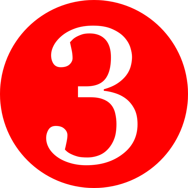Red, Rounded,with Number 3 clip art