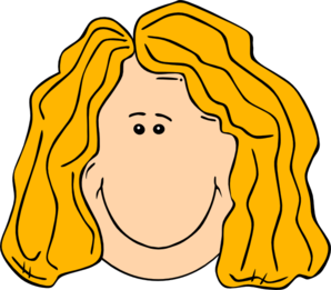 Smiling Blond Lady With Long Hair Clip Art