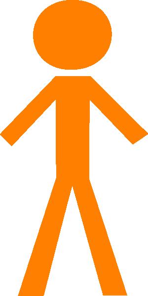 Person orange. Stick man clip art