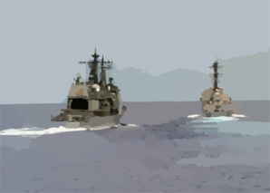 The Guided Missile Cruiser Uss Antietam (cg 54) Approaches The Port Side Of The Guided Missile Frigate Uss Ingraham (ffg 61) During A Leap Frog Training Exercise Clip Art