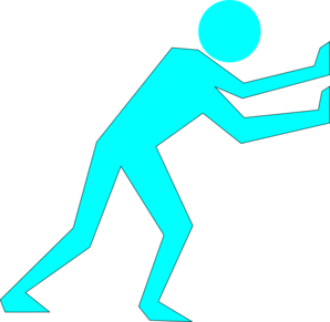 Man Pushing Turpquoise Clip Art