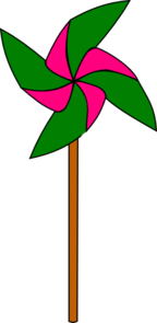 Green And Pink Pinwheel Clip Art