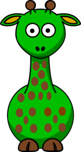 Green Giraffe With 19 Dots- Fixed Nose Clip Art
