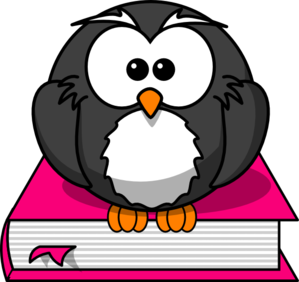 Charcoral Owl On Pink Book Clip Art