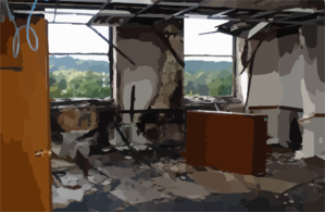 A Damaged Office In The Pentagon Clip Art