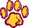 Panther Paw - Maroon & Gold Clip Art
