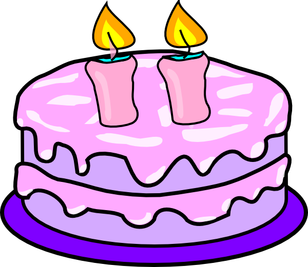 Cake With 2 Candles Clip Art at Clker.com - vector clip ...