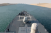 The Guided Missile Destroyer Uss Donald Cook (ddg 75) Transits The Suez Canal.  Donald Cook Is One Of The Many Warships Supporting Operation Iraqi Freedom Clip Art