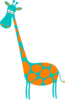 Giraffe Teal With Orange Spots Clip Art