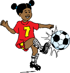 Girl Playing Soccer Clip Art