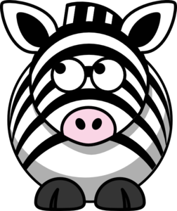 Zebra Looking Left-up Clip Art