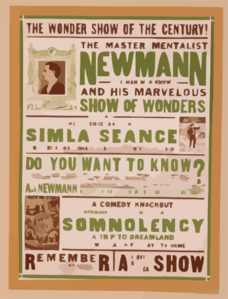 The Master Mentalist, Newmann The Man Who Knows And His Marvelous Show Of Wonders : Including The Science Baffling Simla Seance. Clip Art
