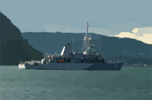At Sea For A Day, The Mine Countermeasure Ship Uss Guardian (mcm 5) Steams Out Of Sasebo Bay In Search Of Open Seas In Which To Conduct Shipboard Training Exercises. Clip Art