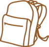Brown Outline Backpack Clip Art