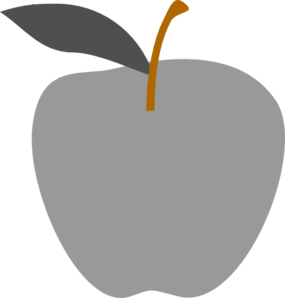 Gray Apple Edited Clip Art