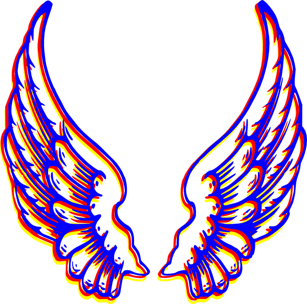 colored wings clip art at clkercom vector clip art