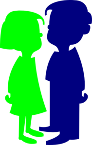 Boy And Girl Green And Blue Clip Art