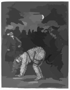 [a Tarred And Feathered Man Standing On Hands And Feet With A Rope Attached To Upper Thighs And Held By A Man Standing At Left; The Man On All Fours Looks Back At A Wild-eyed Devil Standing Behind Him] Clip Art