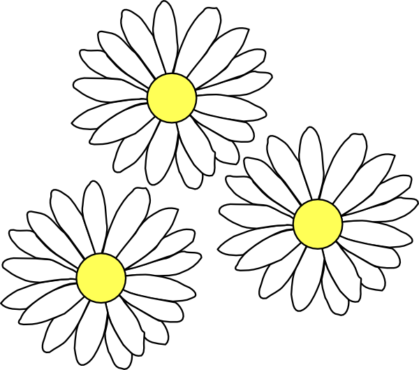 Black Flower 3 Clip Art At Clker Com: 3 Daisies Clip Art At Clker.com