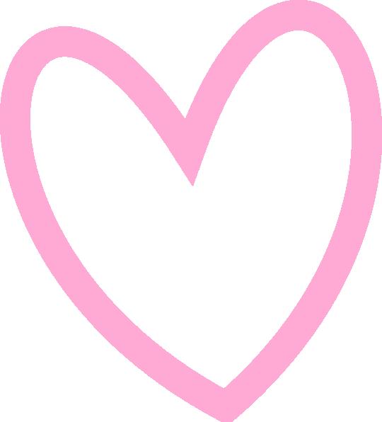 Download Slant Pink Heart Outline Clip Art at Clker.com - vector ...