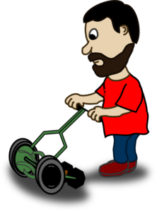 Man Cutting His Grass  Clip Art