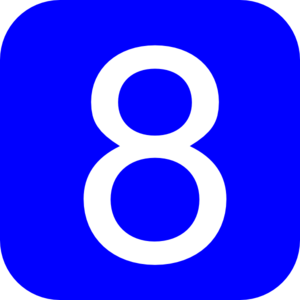 Blue, Rounded, Square With Number 8 Clip Art