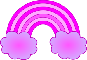 Purple And Pink Rainbow With 2 Clouds Clip Art