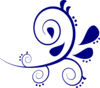 Paisley Curves Dark Blue Clip Art