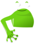 Frog Green With Left Arm Clip Art