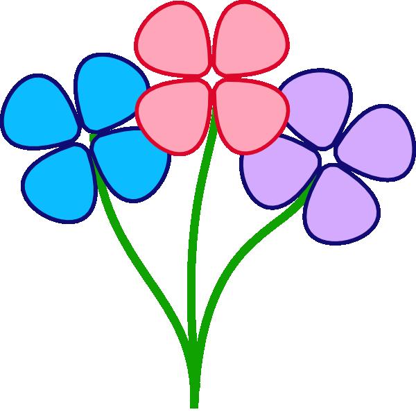 Black Flower Clip Art At Clker Com: Three Pretty Flowers Clip Art At Clker.com