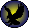 Eagle Silhouette On Blue Clip Art