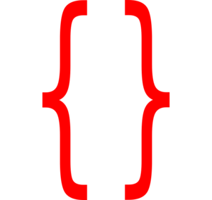 Red Curley Brackets Clip Art