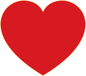 Red Heart With Ochre Outline Clip Art