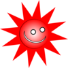 Smiley Red Sun Clip Art