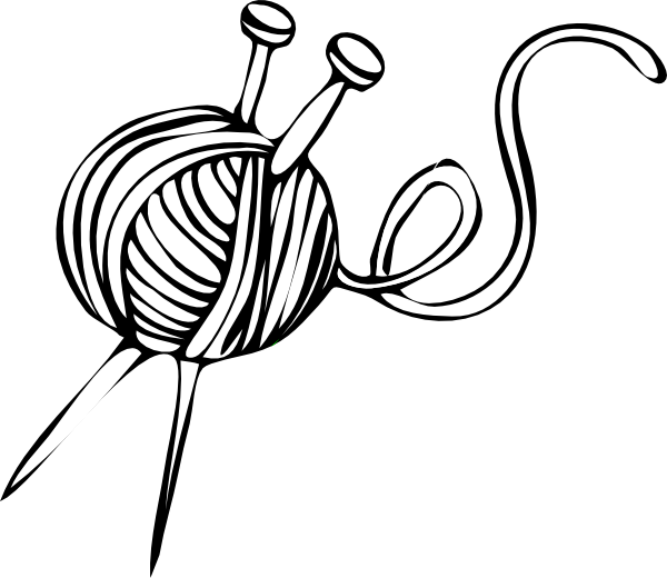 Knitting Needles Clip Art : White yarn ball with knitting needles clip art at clker