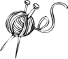 White Yarn Ball With Knitting Needles Clip Art
