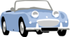 Blue Oldfashioned Convertible  Clip Art